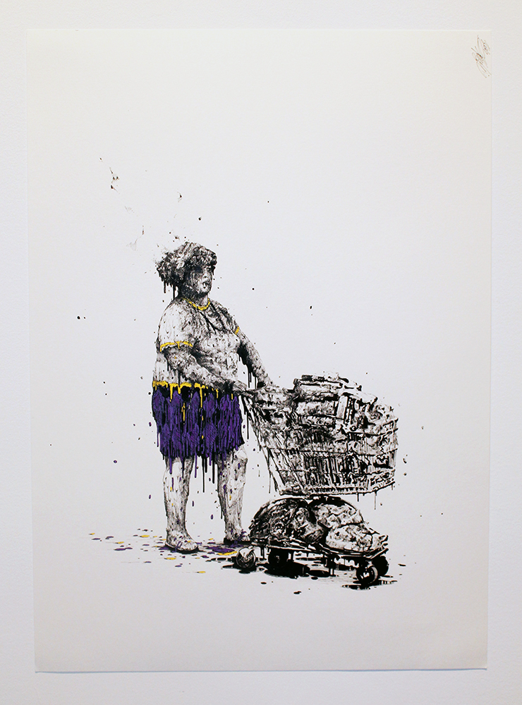 Brusk -  <strong>Walmart m'a tuer</strong> (2018<strong style = 'color:#635a27'></strong>)<bR /> pigment ink and watercolor, 19.7 x 27.5 inches