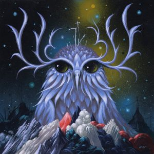 Jeff  Soto -  <strong>Night Watcher</strong> (2014<strong style = 'color:#635a27'></strong>)<bR /> acrylic on wood,   7.88 x 7.88 inches  (20 x 20 cm)