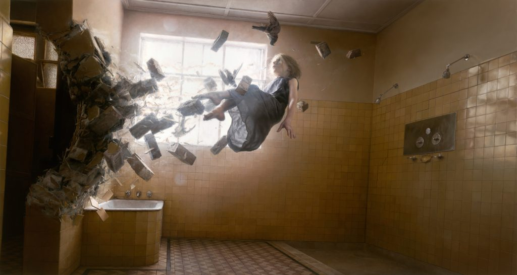 Jeremy  Geddes -  <strong>Acedia</strong> (2012<strong style = 'color:#635a27'></strong>)<bR /> oil on panel,   24 x 45 inches (60.96 x 114.3 cm)  29.75 x 51 x 2.25 inches, framed