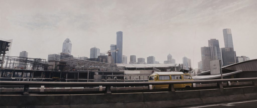 Jeremy  Geddes -  <strong>Failing Echo</strong> (2011<strong style = 'color:#635a27'></strong>)<bR /> oil on board,   16.25 x 39.125 inches (41.28 x 99.38 cm)  23.75 x 45.5 inches, framed