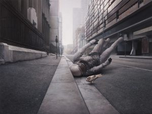 Jeremy  Geddes -  <strong>The Street</strong> (2010<strong style = 'color:#635a27'></strong>)<bR /> oil on board,   25.5 x 34 inches (64.77 x 86.36 cm)  31.5 x 40 x 2 inches, framed