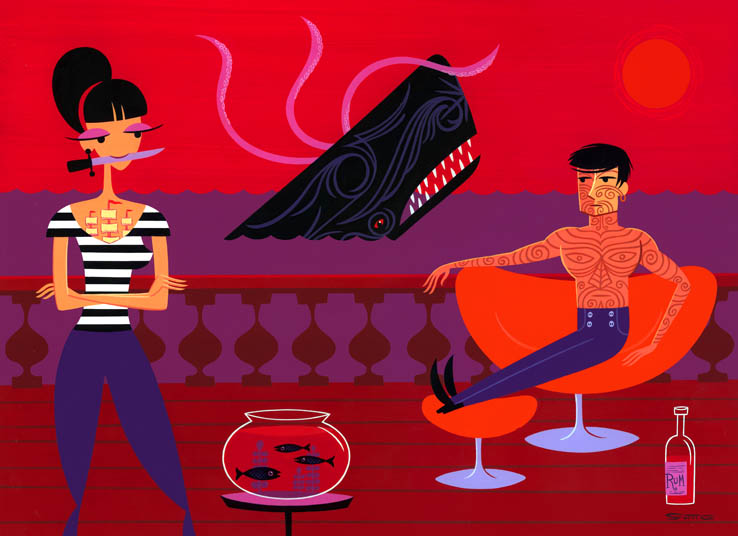 Josh  Agle (Shag) -  <strong>Black Fish</strong> (2010<strong style = 'color:#635a27'></strong>)<bR /> acrylic on panel,   16 x 22 inches (40.64 x 55.88 cm)  22.75 x 28.5 x 2 inches, framed