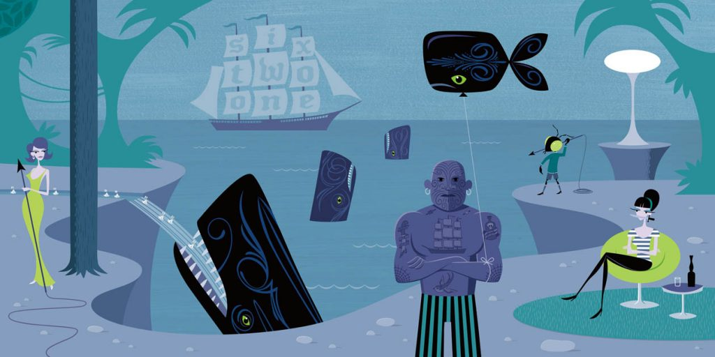 Josh  Agle (Shag) -  <strong>The Lighthouse</strong> (2010<strong style = 'color:#635a27'></strong>)<bR /> archival digital print on canvas, edition of 5  includes artist-signed certificate of authenticity,   36 x 72 inches   (91.44 x 182.88 cm)