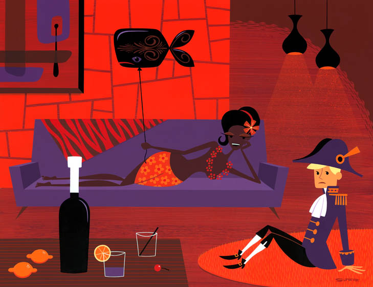 Josh  Agle (Shag) -  <strong>The Little Admiral</strong> (2010<strong style = 'color:#635a27'></strong>)<bR /> acrylic on panel,   18 x 23 inches (45.72 x 58.42 cm)  24.5 x 29.75 x 2 inches, framed