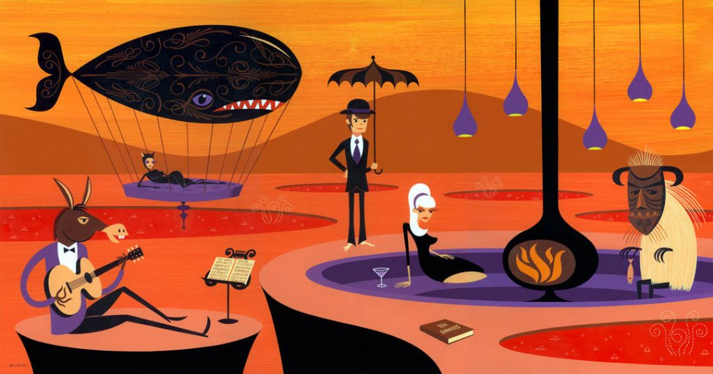 Josh  Agle (Shag) -  <strong>Sea Shanties</strong> (2010<strong style = 'color:#635a27'></strong>)<bR /> acrylic on panel,   24 x 46 inches (60.96 x 116.84 cm)  30 x 51.5 x 2 inches, framed