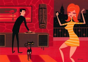 Josh  Agle (Shag) -  <strong>Her Second Night in the City</strong> (2013<strong style = 'color:#635a27'></strong>)<bR /> acrylic on panel,   15 x 22 inches  (38.1 x 55.88 cm)  21.75 x 28.25 x 2 inches, framed