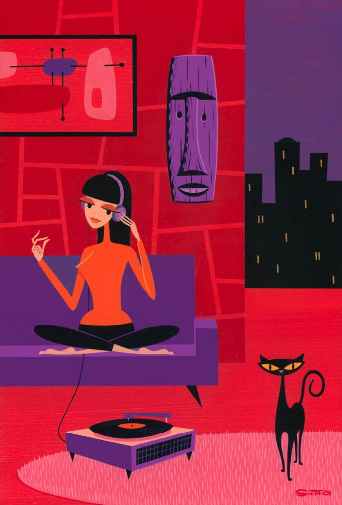 Josh  Agle (Shag) -  <strong>The Good Listener</strong> (2013<strong style = 'color:#635a27'></strong>)<bR /> acrylic on panel,   18 x 12 inches  (45.72 x 30.48 cm)  23.875 x 18.25 x 2 inches, framed