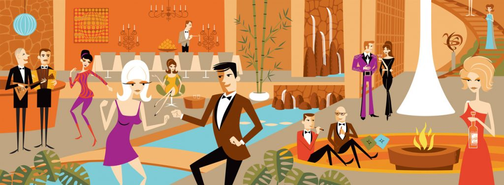 Josh  Agle (Shag) -  <strong>The Holmby Hills, 10:00 PM</strong> (2011<strong style = 'color:#635a27'></strong>)<bR /> 18 color hand-pulled serigraph,   21 x 53 inches  (53.34 x 134.62 cm)  32 x 63.25 x 1 inches, framed,   Edition 17 of 20 AP