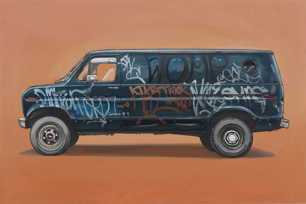Kevin  Cyr -  <strong>Knickerbocker</strong> (2012<strong style = 'color:#635a27'></strong>)<bR /> oil and silkscreen on panel,   20 x 30 inches  (50.8 x 76.2 cm),   Hand-painted multiple (HPM)  Edition of 5