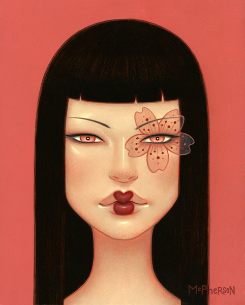 Tara  McPherson -  <strong>The Cherry Blossom Trance</strong> (2010<strong style = 'color:#635a27'></strong>)<bR /> oil on linen, stretched over panel,   10 x 8 inches   (25.4 x 20.32 cm)