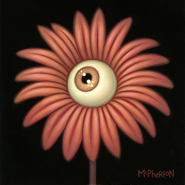 Tara  McPherson -  <strong>The Day's Eye (Daisy)</strong> (2010<strong style = 'color:#635a27'></strong>)<bR /> oil on linen, stretched over panel,   9 x 9 inches   (22.86 x 22.86 cm)