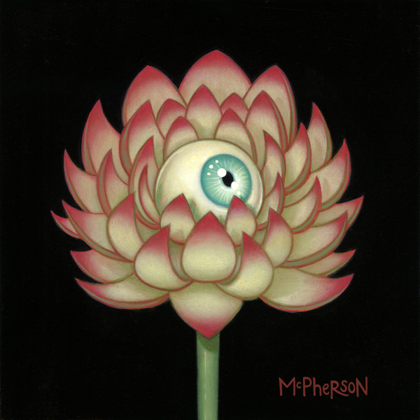 Tara  McPherson -  <strong>The Day's Eye (Lotus)</strong> (2010<strong style = 'color:#635a27'></strong>)<bR /> oil on linen, stretched over panel,   9 x 9 inches   (22.86 x 22.86 cm)