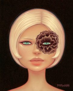 Tara  McPherson -  <strong>The Gloxinia Trance</strong> (2010<strong style = 'color:#635a27'></strong>)<bR /> oil on linen, stretched over panel,   10 x 8 inches   (25.4 x 20.32 cm)