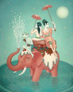 Tara  McPherson -  <strong>Safety of Water</strong> (2010<strong style = 'color:#635a27'></strong>)<bR /> oil on linen, stretched over panel,   60 x 48 inches   (152.4 x 121.92 cm)