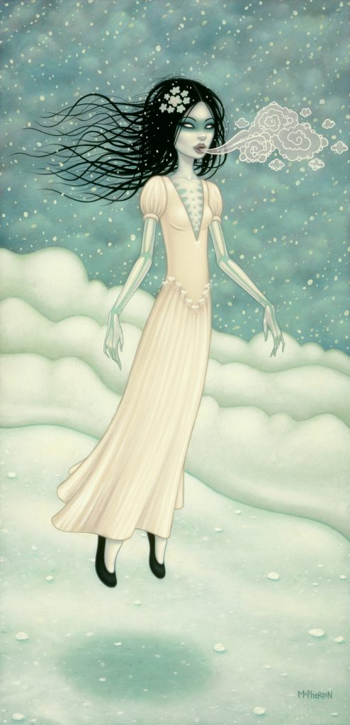Tara  McPherson -  <strong>The Snow Bride</strong> (2010<strong style = 'color:#635a27'></strong>)<bR /> oil on linen, stretched over panel,   40 x 20 inches  (101.6 x 50.8 cm)