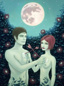 Tara  McPherson -  <strong>The Bunny in the Moon</strong> (2010<strong style = 'color:#635a27'></strong>)<bR /> oil on linen, stretched over panel,   40 x 30 inches   (101.6 x 76.2 cm)