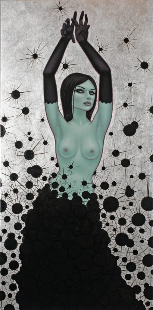 Tara  McPherson -  <strong>The Dark Matter Witch</strong> (2010<strong style = 'color:#635a27'></strong>)<bR /> oil and silver leaf on linen, stretched over panel,   30 x 15 inches  (76.2 x 38.1 cm)