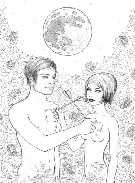Tara  McPherson -  <strong>The Bunny in the Moon</strong> (2010<strong style = 'color:#635a27'></strong>)<bR /> graphite on bristol,   17 x 14 inches (43.18 x 35.56 cm)  13.75 x 10 inches image  20.5 x 17 inches framed