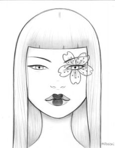 Tara  McPherson -  <strong>The Cherry Blossom Trance</strong> (2010<strong style = 'color:#635a27'></strong>)<bR /> graphite on bristol,   14.5 x 12.25 inches (36.83 x 31.12 cm)  9.5 x 7.5 inches image  16.5 x 14.25 inches framed