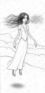 Tara  McPherson -  <strong>The Snow Bride</strong> (2010<strong style = 'color:#635a27'></strong>)<bR /> graphite on bristol,   17 x 12.5 inches (43.18 x 31.75 cm)  15.75 x 7.75 inches image  22.5 x 14.5 inches framed
