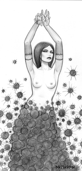 Tara  McPherson -  <strong>Dark Matter Witch</strong> (2010<strong style = 'color:#635a27'></strong>)<bR /> graphite on bristol,   15 x 10 inches (38.1 x 25.4 cm)  10 x 5 inches image  17 x 12 inches framed
