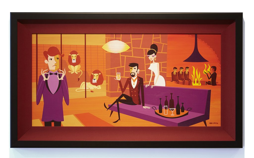Josh  Agle (Shag) -  <strong>Fourth Man on Fire</strong> (2015<strong style = 'color:#635a27'></strong>)<bR /> acrylic on canvas,   15 x 31 inches  (38.1 x 78.74 cm)