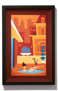 Josh  Agle (Shag) -  <strong>She Bath</strong> (2014<strong style = 'color:#635a27'></strong>)<bR /> acrylic on panel,   14 x 24 inches  (35.56 x 60.96 cm)