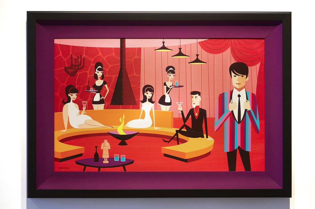 Josh  Agle (Shag) -  <strong>The Favorite Son</strong> (2015<strong style = 'color:#635a27'></strong>)<bR /> acrylic on canvas,   18 x 28 inches  (45.72 x 71.12 cm)