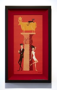 Josh  Agle (Shag) -  <strong>The Golden Calf</strong> (2014<strong style = 'color:#635a27'></strong>)<bR /> acrylic on panel,   12 x 24 inches  (30.48 x 60.96 cm)