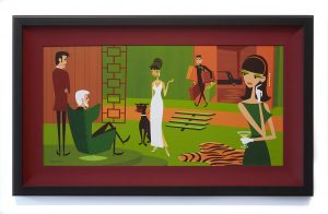 Josh  Agle (Shag) -  <strong>The Queen of Sheba</strong> (2015<strong style = 'color:#635a27'></strong>)<bR /> acrylic on panel,   14 x 28 inches  (35.56 x 71.12 cm)