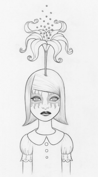 Tara  McPherson -  <strong>Somewhere Under the Rainbow (Violet) Drawing</strong> (2007<strong style = 'color:#635a27'></strong>)<bR /> graphite on acid free Bristol paper,   17 x 14 inches  (43.18 x 35.56 cm)  26 1/2 x 18 3/4 inches, framed