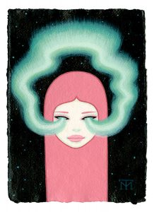Tara  McPherson -  <strong>Aurora</strong> (2013<strong style = 'color:#635a27'></strong>)<bR /> acrylic on watercolor paper,   8.3 x 5.8 inches  (21.08 x 14.73 cm)  20.63 x 18.25 inches, framed