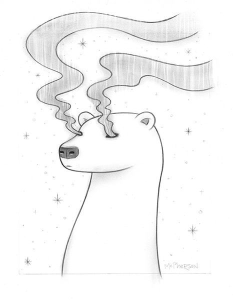 Tara  McPherson -  <strong>Borealis</strong> (2013<strong style = 'color:#635a27'></strong>)<bR /> graphite on bristol,   12 x 9 inches  (30.48 x 22.86 cm)  20.63 x 18.25 inches, framed