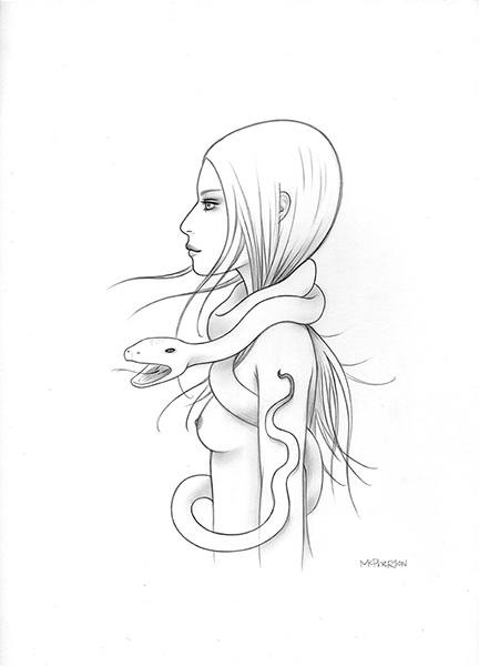 Tara  McPherson -  <strong>Cosmic Serpent</strong> (2013<strong style = 'color:#635a27'></strong>)<bR /> graphite on bristol,   12.5 x 9.5 inches  (31.75 x 24.13 cm)  25.38 x 22.25 inches, framed