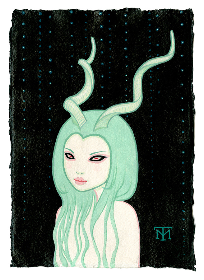 Tara  McPherson -  <strong>Deer Girl</strong> (2013<strong style = 'color:#635a27'></strong>)<bR /> acrylic on watercolor paper,   8.3 x 5.8 inches  (21.08 x 14.73 cm)  20.63 x 18.25 inches, framed