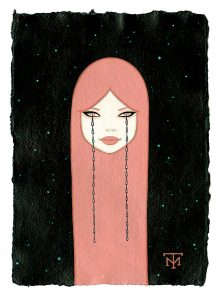 Tara  McPherson -  <strong>Gloworm Eyes</strong> (2013<strong style = 'color:#635a27'></strong>)<bR /> acrylic on watercolor paper,   8.3 x 5.8 inches  (21.08 x 14.73 cm)  20.63 x 18.25 inches, framed