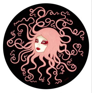 Tara  McPherson -  <strong>Inertia</strong> (2013<strong style = 'color:#635a27'></strong>)<bR /> oil on wood panel,   30 x 30 inches  (76.2 x 76.2 cm)