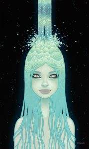 Tara  McPherson -  <strong>The Crystal Waterfall</strong> (2013<strong style = 'color:#635a27'></strong>)<bR /> oil on wood panel,   30 x 18 inches  (76.2 x 45.72 cm)