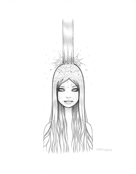 Tara  McPherson -  <strong>The Crystal Waterfall</strong> (2013<strong style = 'color:#635a27'></strong>)<bR /> graphite on bristol