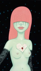 Tara  McPherson -  <strong>The Love Note</strong> (2013<strong style = 'color:#635a27'></strong>)<bR /> oil on birch,   30 x 18 inches  (76.2 x 45.72 cm)