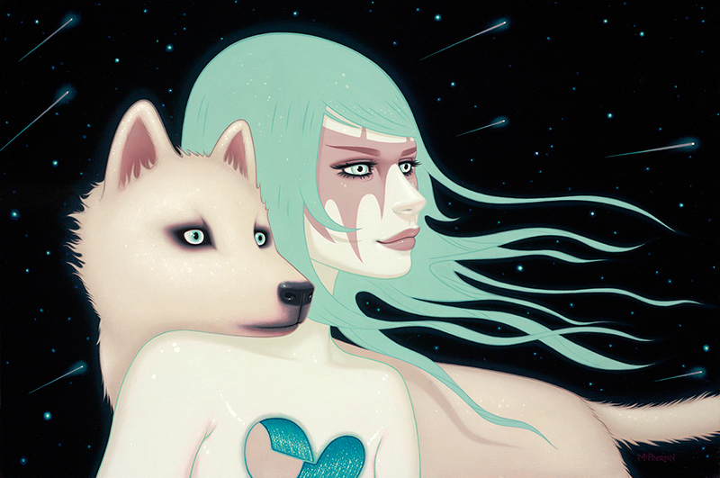 Tara  McPherson -  <strong>The Wanderers</strong> (2013<strong style = 'color:#635a27'></strong>)<bR /> oil on wood panel,   24 x 36 inches  (60.96 x 91.44 cm)