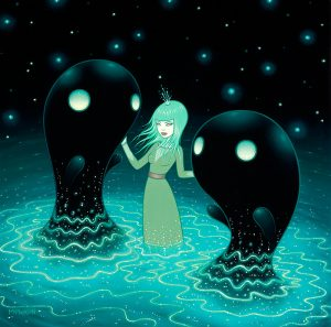 Tara  McPherson -  <strong>The Water Nebula</strong> (2013<strong style = 'color:#635a27'></strong>)<bR /> oil on birch,   18 x 18 inches  (45.72 x 45.72 cm)