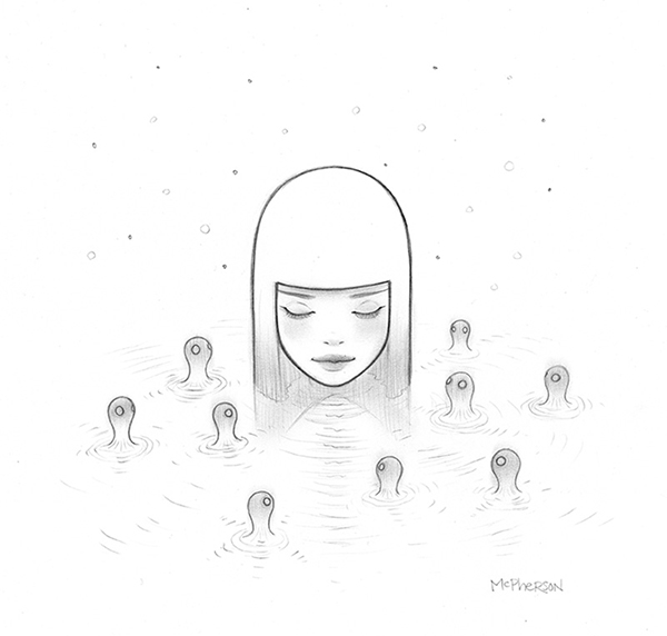 Tara  McPherson -  <strong>Umibozu Lake</strong> (2013<strong style = 'color:#635a27'></strong>)<bR /> graphite on bristol,   9 x 8.75 inches  (22.86 x 22.23 cm)  21.25 x 21.25 inches, framed