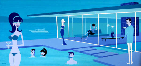 Josh  Agle (Shag) -  <strong>Fish Story</strong> (2008<strong style = 'color:#635a27'></strong>)<bR /> Acrylic on Panel,   24 x 48 inches