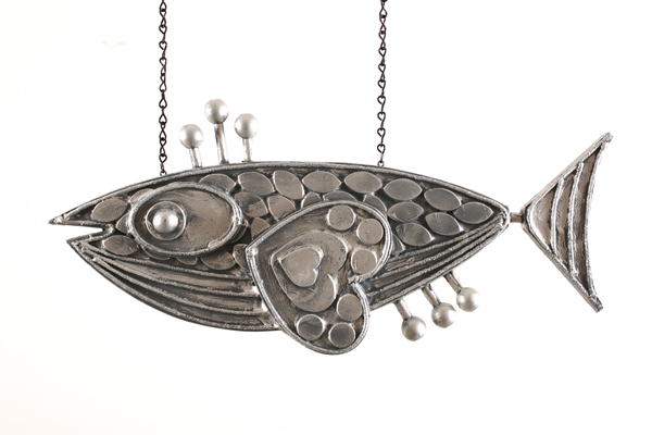 Josh  Agle (Shag) -  <strong>Fish Sculpture 1</strong> (2008<strong style = 'color:#635a27'></strong>)<bR /> Hand carved and hand painted Wood,   21 x 10 inches