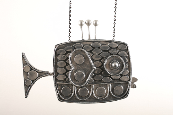 Josh  Agle (Shag) -  <strong>Fish Sculpture 2</strong> (2008<strong style = 'color:#635a27'></strong>)<bR /> Hand Carved and Hand Painted Wood,   19 x 11 inches