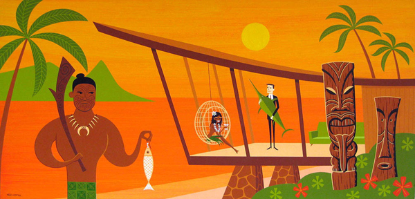 Josh  Agle (Shag) -  <strong>The Little Fish</strong> (2008<strong style = 'color:#635a27'></strong>)<bR /> Acrylic on Panel,   24 x 48 inches