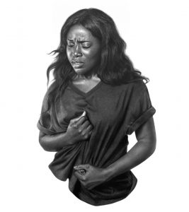 Arinze Stanley -  <strong>A Lady in Black</strong> (2017<strong style = 'color:#635a27'></strong>)<bR /> charcoal and graphite pencil on paper, 47.5 x 39 inches