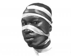 Arinze Stanley -  <strong>Mirror 000</strong> (2018<strong style = 'color:#635a27'></strong>)<bR /> charcoal and graphite pencil on paper,  29 x 23 inches