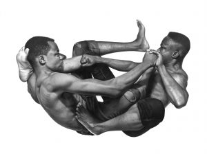 Arinze Stanley -  <strong>Painful Conversations</strong> (2018<strong style = 'color:#635a27'></strong>)<bR /> charcoal and graphite pencil on paper, 42 x 47.5 inches